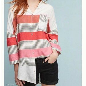 Anthropologie Holding Horses Striped High Low 3/4 Sleeve Tunic Top Women's M/L